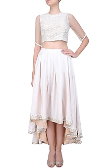 Ecru Resham Embroidered Crop Top And High Low Skirt Set by Shasha Gaba
