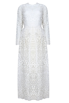Nude And Ecru Floral Thread Embroidered Flared Pleated Dress
