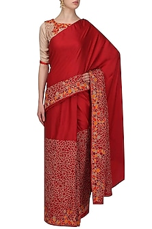 Red mosaic embroidered saree with beige blouse by Shasha Gaba