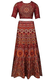 Red and maroon shaded mosaic embroidered lehenga set