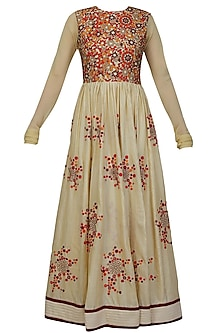 Beige and red mosaic embroidered floor length dress