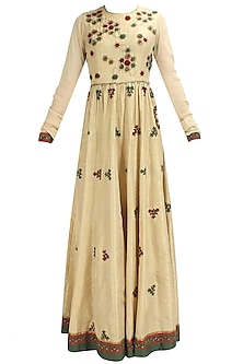 Biege, olive greena and red floral thread and sequins embroidered anarkali