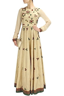 Biege, olive greena and red floral thread and sequins embroidered anarkali by Shasha Gaba