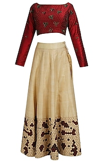 Maroon floral embroidered blouse and beige hexagon lehenga set by Shasha Gaba