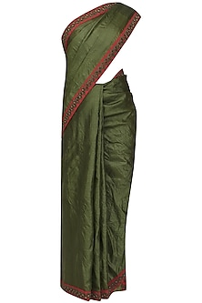 Olive green floral embroidered saree with beige blouse