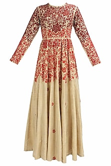 Biege and red floral thread and beads embroidered dress