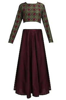 Olive green and red floral thread embroidered blouse and maroon lehenga set