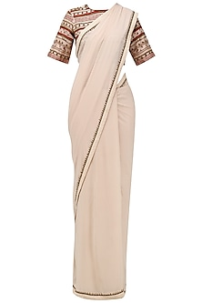 Beige Saree with Embroidered Blouse