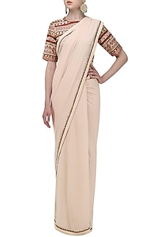 Beige Saree with Embroidered Blouse by Shasha Gaba
