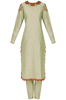 Mint Green Mosiac Embroidered Kurta Set