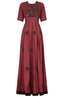 Red Embroidered Anarkali Gown by Shasha Gaba