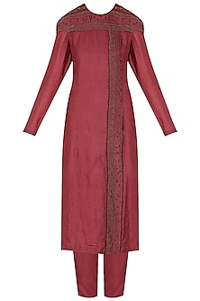 Red Linear Design Embroidered Kurta Set by Shasha Gaba