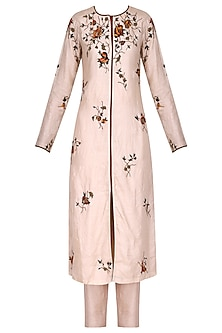 Blush Pink Front Open Rose Embroidered Kurta Set