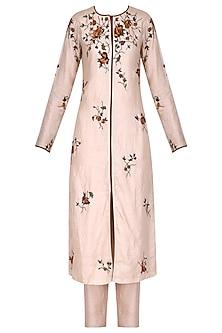 Blush Pink Front Open Rose Embroidered Kurta Set by Shasha Gaba
