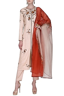 Blush Pink Front Open Rose Embroidered Kurta Set by Shasha Gaba