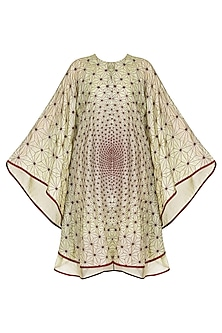 Mint Green Embroidered Rhombus Kaftan by Shasha Gaba