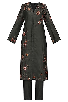 Charcoal Black Front Open Embroidered Kurta with Pants
