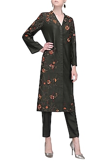 Charcoal Black Front Open Embroidered Kurta with Pants by Shasha Gaba