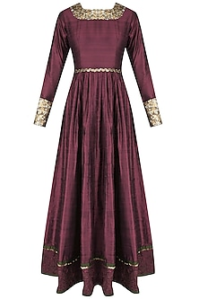 Wine French Knot Embroidered Floor Length Anarkali by Shasha Gaba