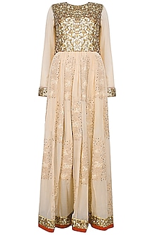 Nude French Knot Embroidered Anarkali