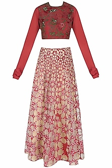 "Red And Nude ""Gopi Bandhani"" Embroidered Lehenga Set by Shasha Gaba"