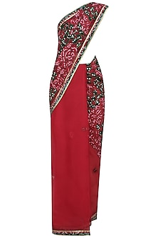 Maroon And Olive Green Bandhani Saree With Maroon Blouse by Shasha Gaba