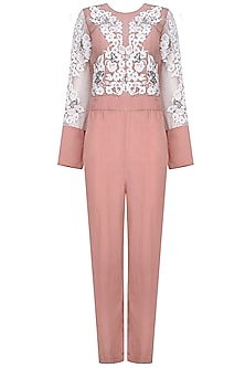 Rose Pink Floral Applique Work Jumpsuit