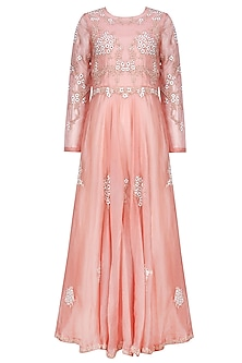 Rose Pink Resham Embroidered Dress by Shasha Gaba