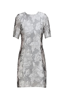 Metallic Grey Jacquard Sculpt Shift Dress