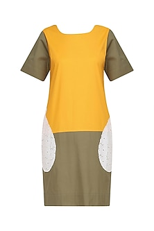 Mango and Olive Tautou Box Shift Dress