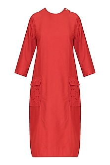 Red Rekha Side Button Dress