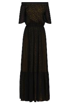 Black Robbie Off Shoulder Midi Dress