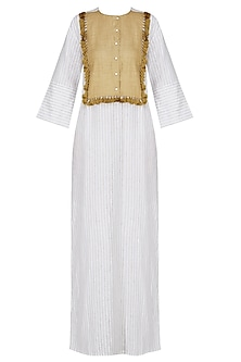 White and mustard pin stripe coachella long tunic