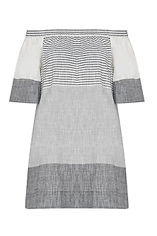 Black and White striped robbie off shoulder dress