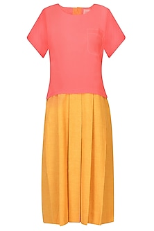 Pink And Mustard Yellow Color Block Box Pleated Dress