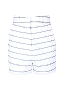 White And Grey Horizontal Striped Shorts