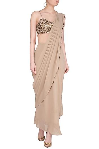 Beige Embroidered Drape Saree Set by Sheena Singh