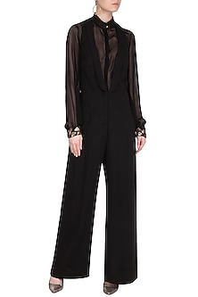 Black Embroidered Bodysuit With Jumpsuit by Sheena Singh