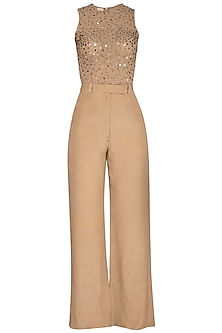 Beige Embroidered Bodysuit With Pants by Sheena Singh