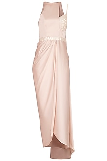 Light Pink Embellished Draped Dress by Sheena Singh