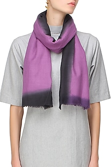 Purple and black dip dyed stole