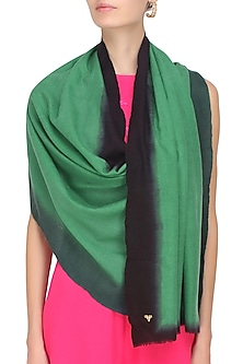 Green and black dip dyed stole