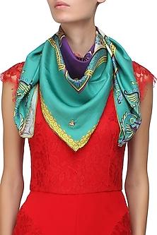 Green digital printed scarf by Shingora