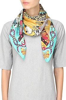 Turquoise paisley printed scarf by Shingora