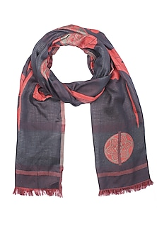 Red and black floral print jacquard Stole by Shingora