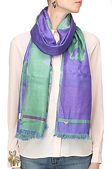 Violet and sea green floarl jacquard stole