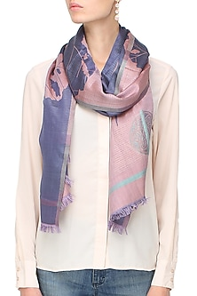 Pink and purple floarl jacquard stole