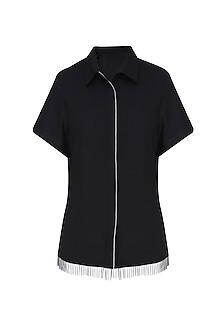 Black Bead Tassels Boxy Shirt by 431-88 By Shweta Kapur