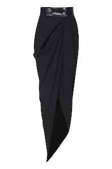 Black Wrap Around Drape Lungi Skirt