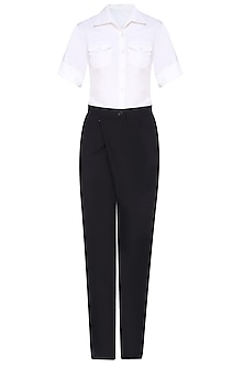 Black and White Overlapped Jumpsuit by 431-88 By Shweta Kapur